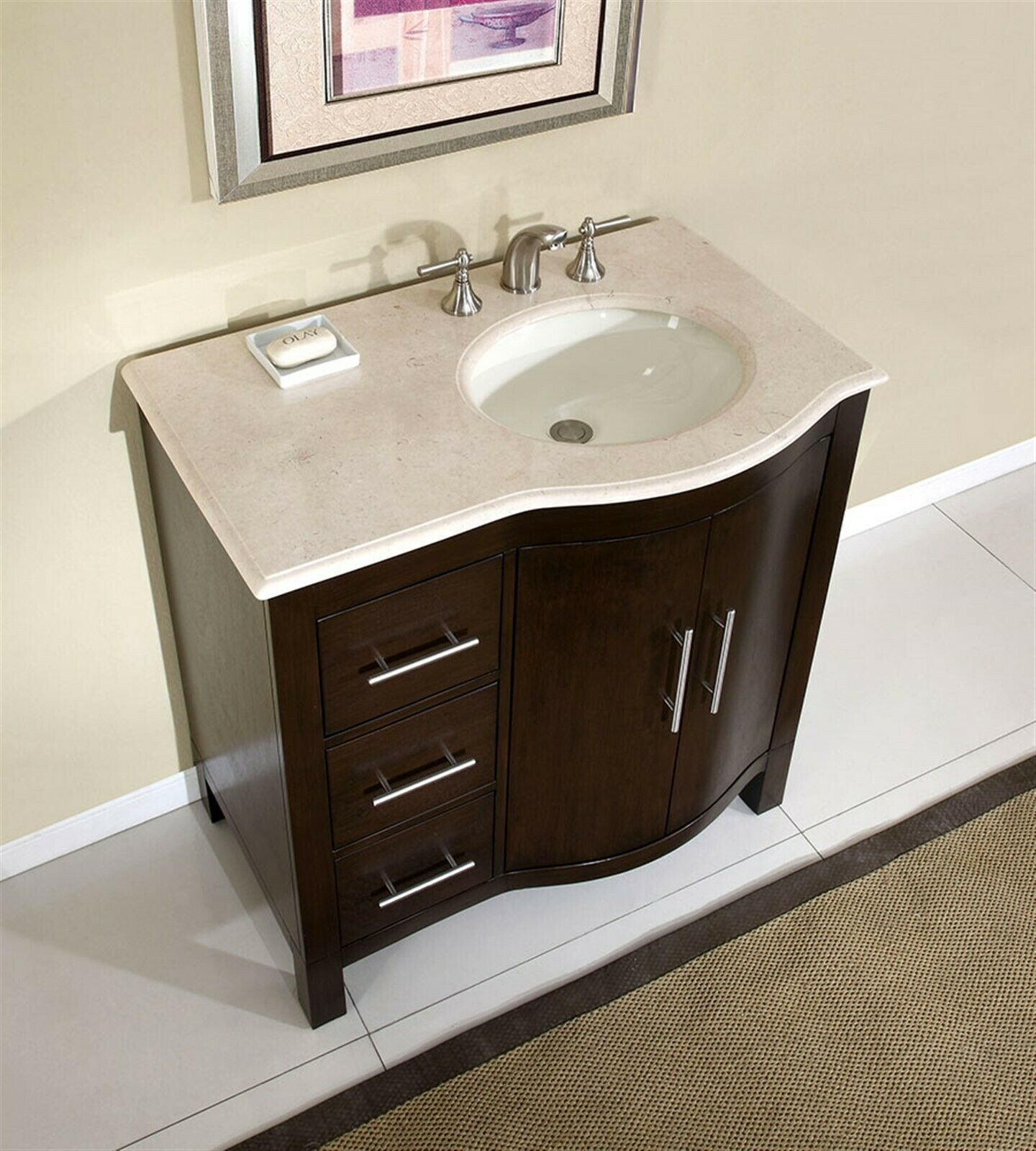 details about 36 cream marble top bathroom vanity single sink cabinet off center 912cm r