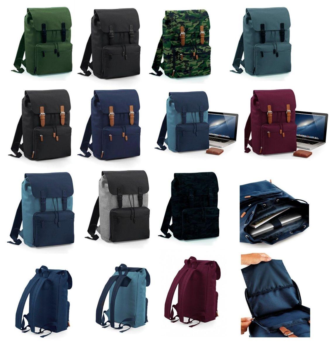 Laptop Rucksack gepolstert bis 17 Zoll Vintage Laptop Backpack Büro Schule Uni