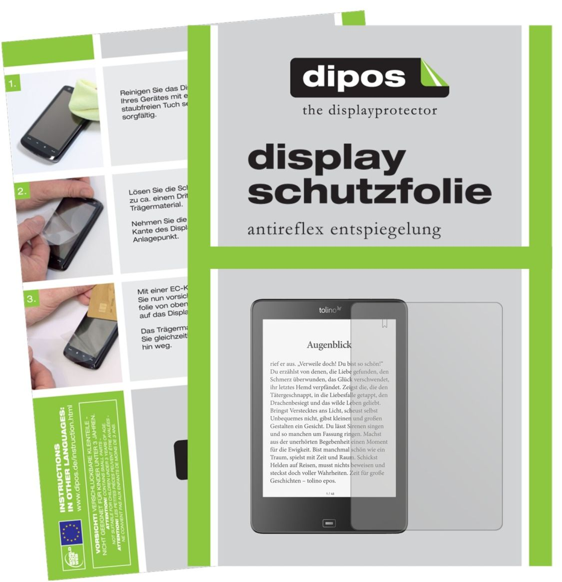 2x Tolino Epos eBook Reader Schutzfolie matt Displayschutzfolie Folie Display
