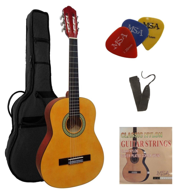 1/2 Kindergitarre-Jugend-im Set-Tasche-Gurt/Band-extra Saiten-3xPik-Set-J3!n
