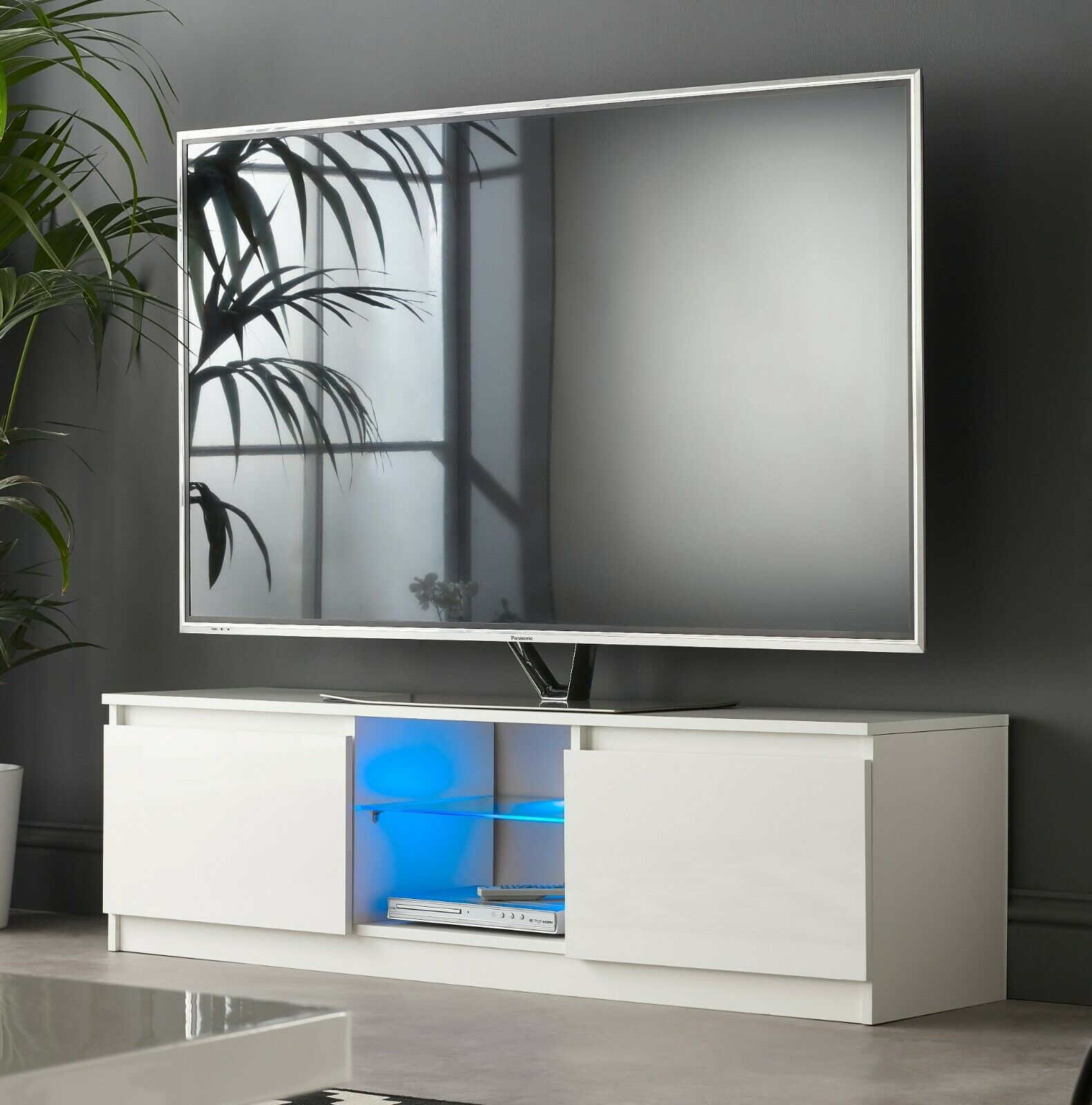 entertainment centres tv stands modern tv stand cabinet 120cm white gloss with blue led lights for 50 55 tv s home furniture diy itkart org