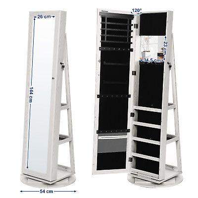 Schmuckschrank Spiegelschrank abschließbar um360° drehbar mit Leiterregal JBC62W