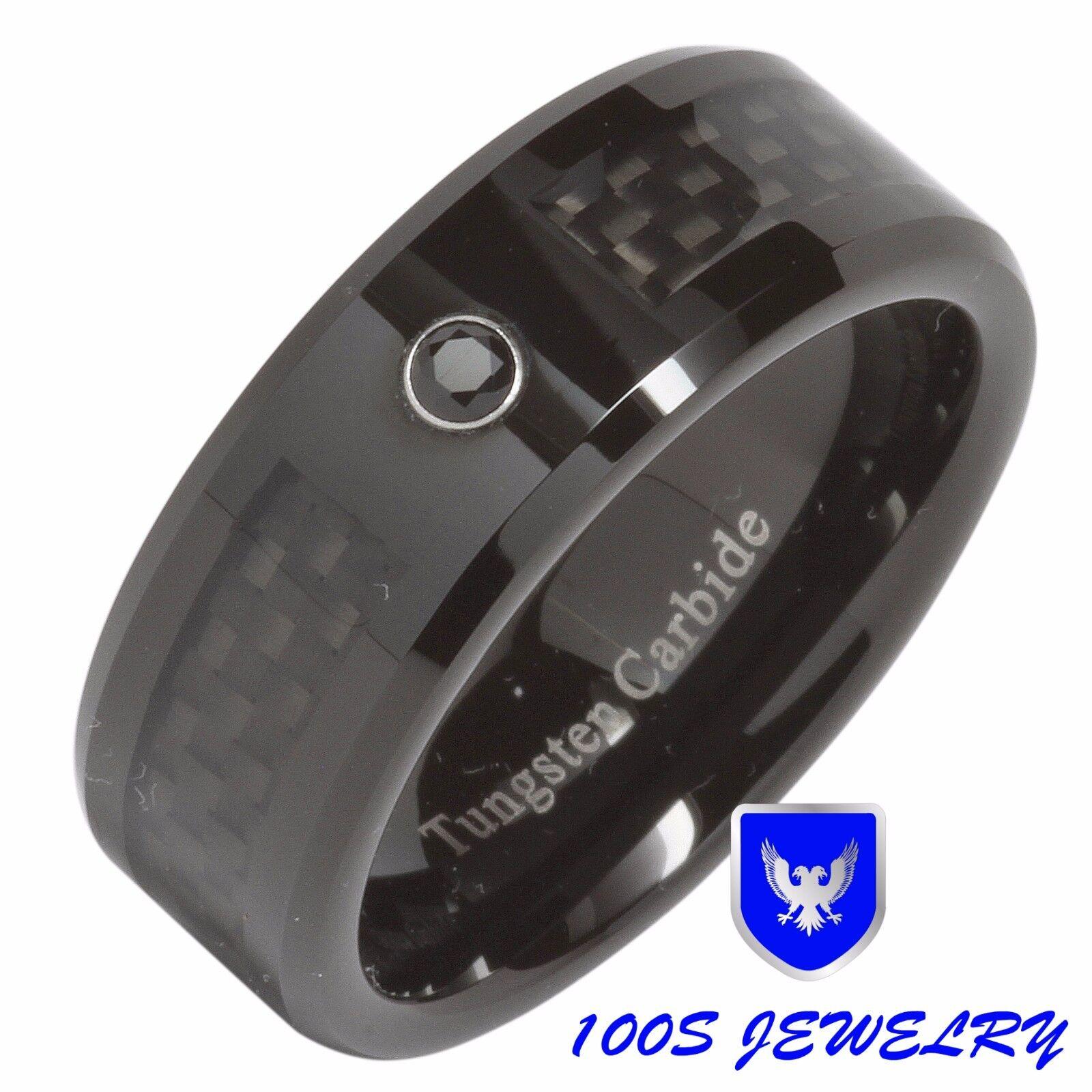 Wedding Carbon Fiber Diamonds Bands Black