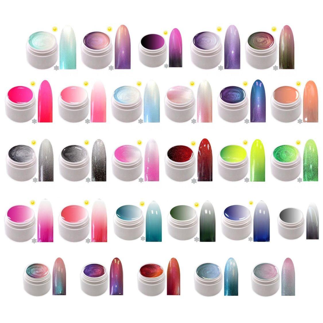 Thermo UV Gel Farbgel Metallic Glitter Flip Flop Colour Changing Farbwechsel