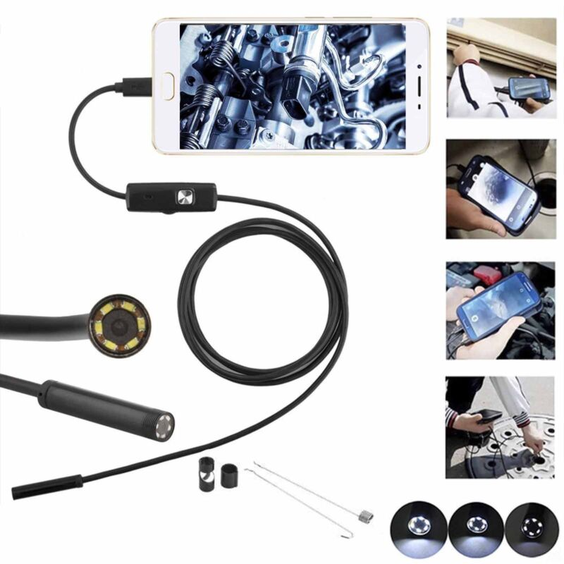 7mm Wasserdicht Endoscope Endoskop 5M 6LED Inspektionskamera für Android Handy