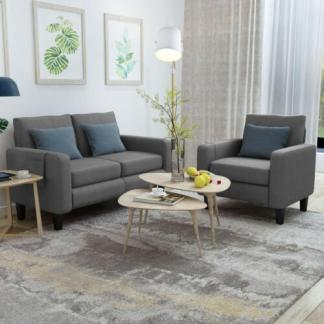 2 Pieces Living Room Sofa Set Fabric Upholstered Single Sofa Chair & Loveseat
