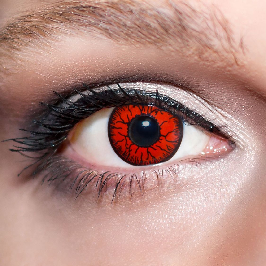 2 Rote Kontaktlinsen mit Behälter -Halloween- Dämon, farbige Jahreslinsen;K522
