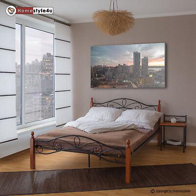 Bett Metallbett Bettgestell Doppelbett Bettrahmen Lattenrost 140 x 200 schwarz
