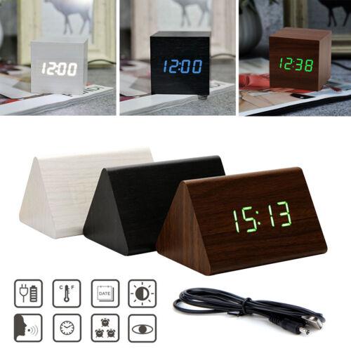 LED Digital Wecker Tischuhr Uhr Funk Thermometer Kalender Holz Alarm Snooze