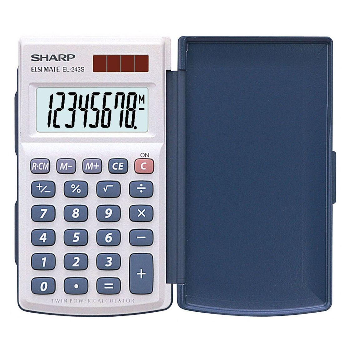 Taschenrechner mit Klappdeckel SHARP EL-243 S, Solar-/ Batteriebetrieb 8-stellig