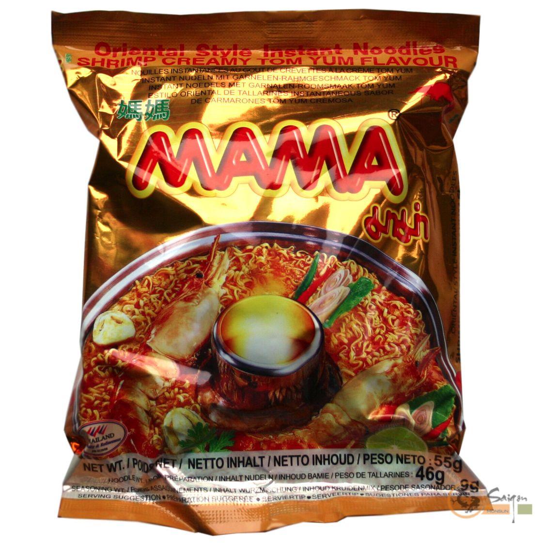 1Karton (30x55g) Mama Instantnudeln Tom Yum Shrimps Creamy Istant Nudelsuppe