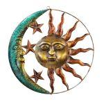 Details About Sun Star Half Moon Wall Decor Indoor Outdoor Rustic Metal Wall Sculpture Art