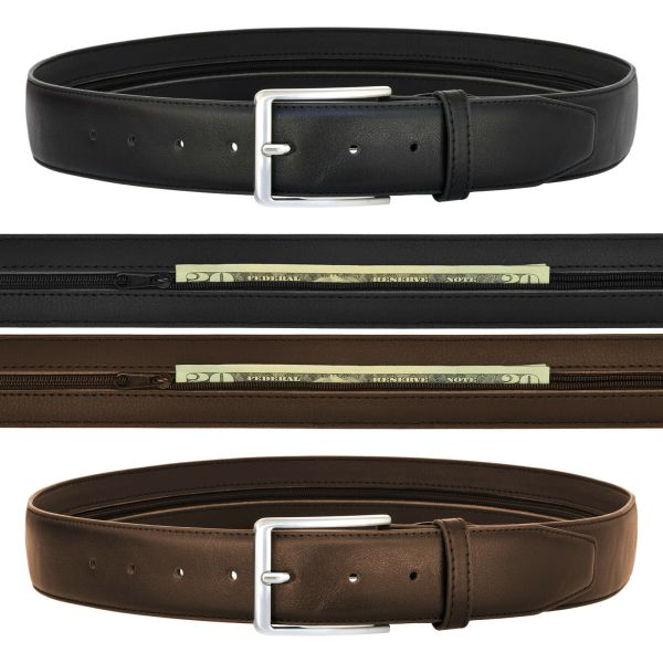 Men's Leather Money Belt w/ Hidden Zipper Compartment: Travel, Bills, New