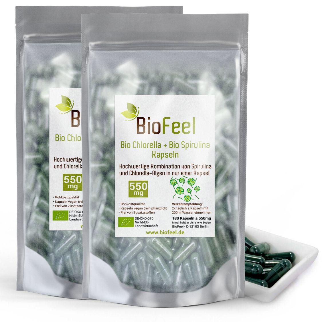 BioFeel - Bio Spirulina & Chlorella Mix Kapseln, 360 Stk., 550mg