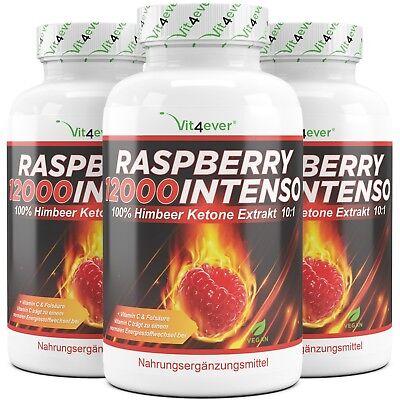 3x 120 Kapseln (V) Raspberry 12000 Intenso - Himbeere Ketone - Fatburner + Diät