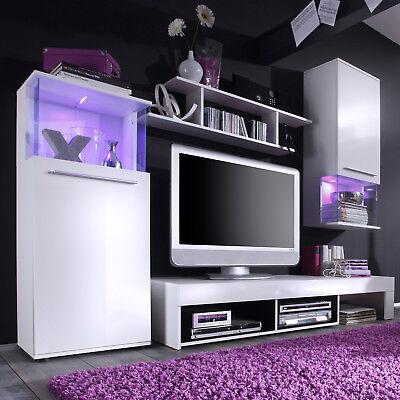 Wohnwand Punch Anbauwand Schrankwand Wohnzimmer in weiß Glanz und schwarz
