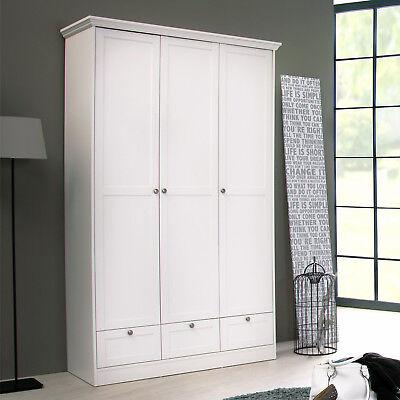Kleiderschrank Landwood Drehtürenschrank Schrank in weiß 3-türig Landhausstil