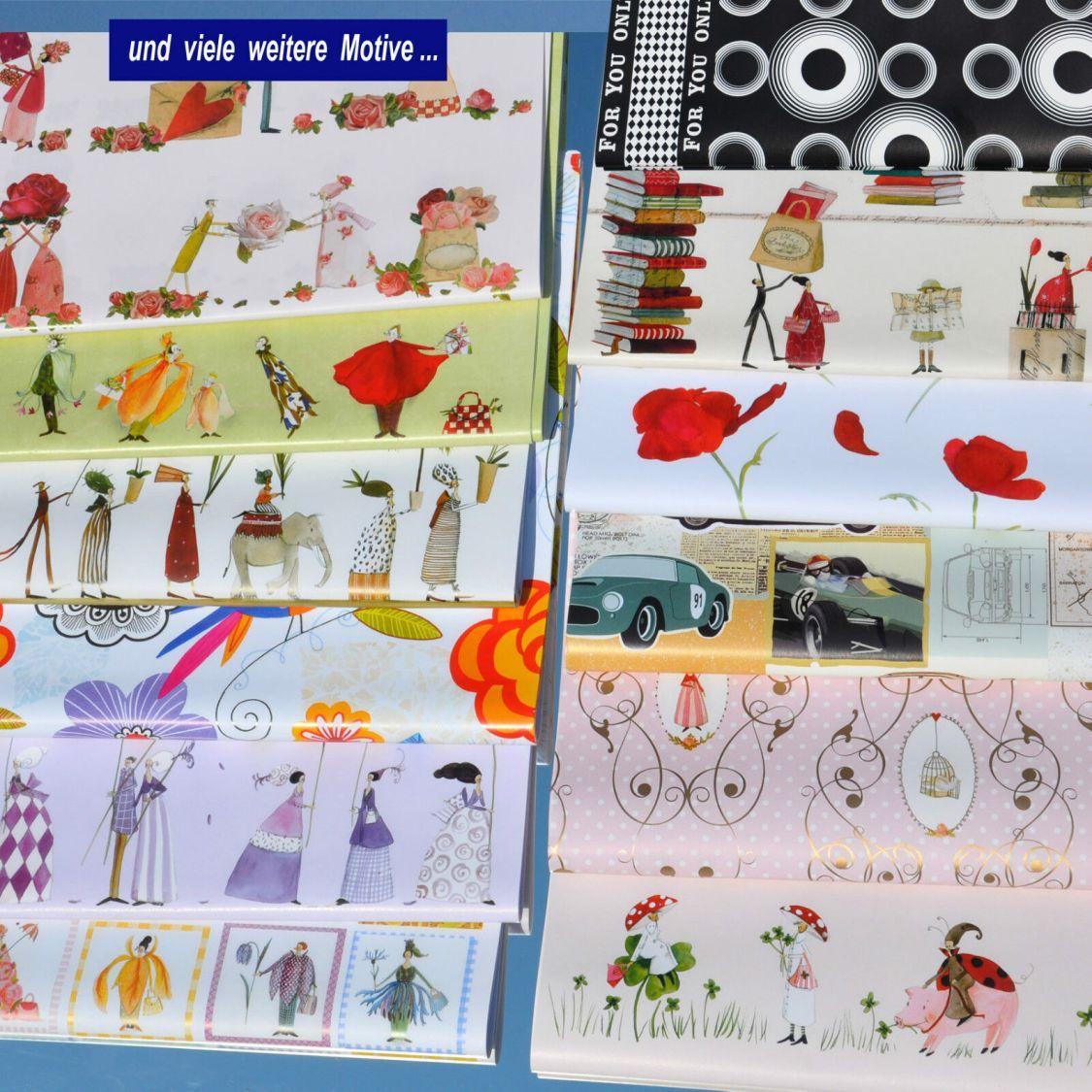 Geschenkpapier Bogen - Geburtstag, Glück, Blüten, Buch viele Motive zur Auswahl