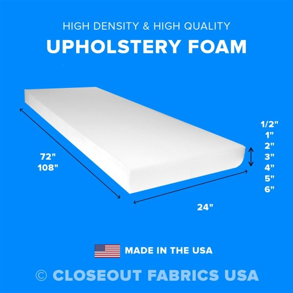 """High Density Upholstery Foam Seat Cushion Replacement - 24"""" x 72"""" & 24"""" x 108"""""""