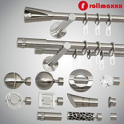 Modern Gardinenstange Vorhangstange 19mm 1-läufig/2-läufig Edelstahl Design TOP!