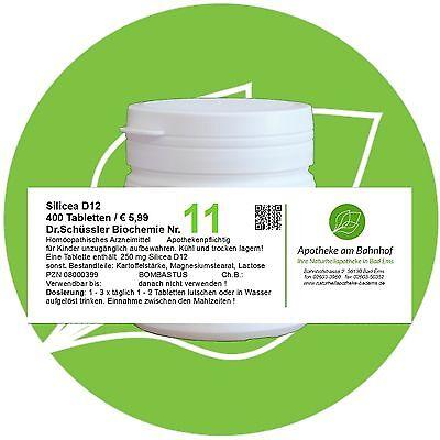 Schüßler - Salz 11 Silicea D12 glutenfrei 400 Tabletten PZN 08000399