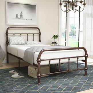 Twin Size Metal Bed Frame Platform w/ Steel Slats Headboard Footboard Chocolat