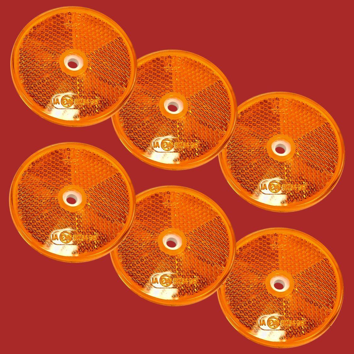 6 x Anhänger Reflektor Seitenstrahler Rückstrahler Gelb Orange Rund 60mm E20 6cm