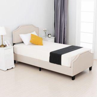 Twin Size Metal Bed Frame Platform w/ Linen Headboard Footboard Bedroom Beige