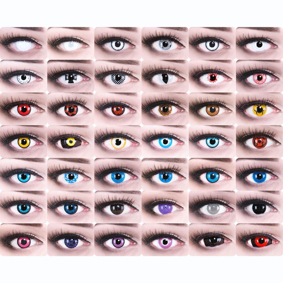 Farbige Kontaktlinsen  crazy Fasching  Zombie Dämonen Halloween ohne Stärke FUN