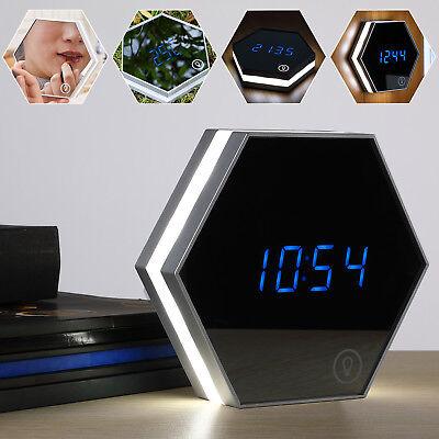 monzana® LED Wecker digital Tischuhr Alarm Touch Thermometer Spiegel Nachtlicht