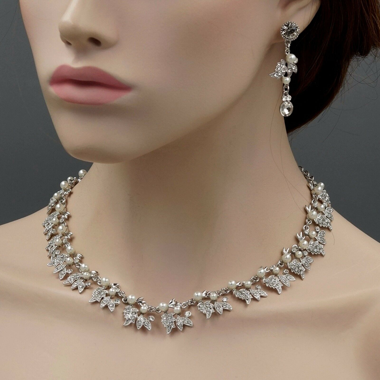 Rhodium Plated Pearl Crystal Necklace Earrings Bridal