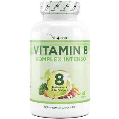 Vitamin B Komplex 180 Kapseln - Alle 8 B-Vitamine + 3 Co-Faktoren - Hochdosiert