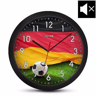 ONETIME Kinderwanduhr (Ø) 30,5cm lautlose Kinder Wanduhr & Deutschland Fußball
