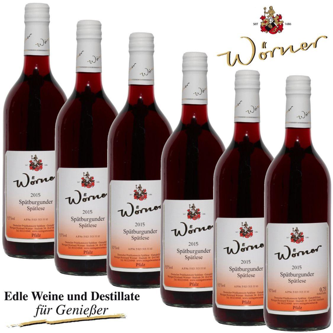 (6,66€/l) Spätburgunder Spätlese 6 Fl. WEINGUT WÖRNER Rotwein süß Prädikatswein