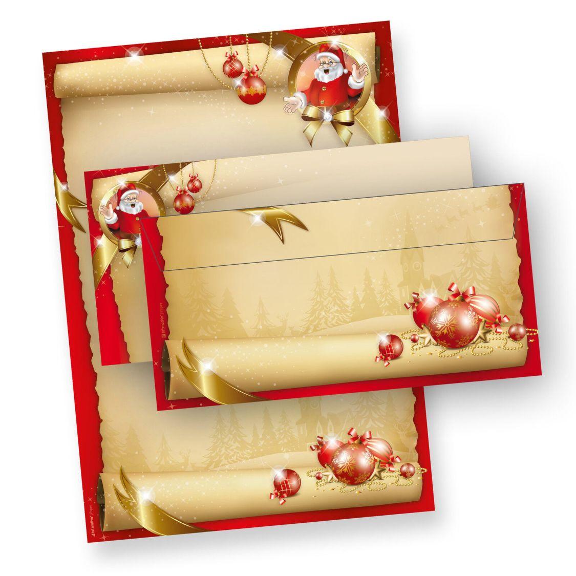 Briefpapier Weihnachten Motiv ROT Weihnachtsbriefpapier ohne/mit Briefumschläge