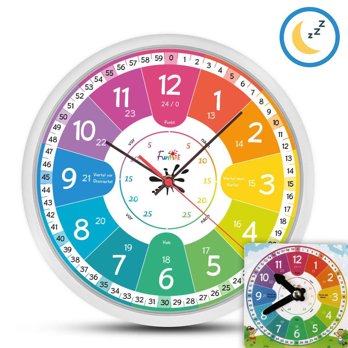 Funtini Kinderzimmer Wanduhr lautlos Kinder Uhr +Lernuhr Kinderuhr Kinderwanduhr