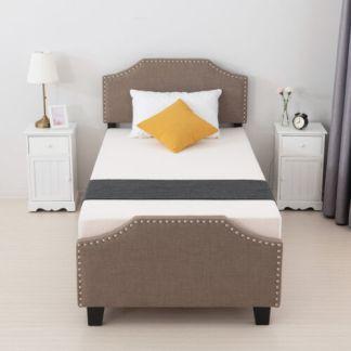 Twin Size Metal Bed Frame Platform Headboard Footboard Bedroom Furniture Brown