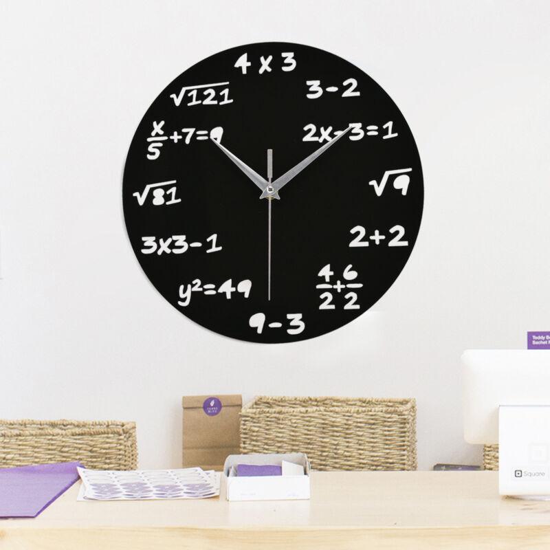 Design Wanduhr Mathematik ALGEBRA Rechnen  Büro-Uhr Glas Schwarz NEU