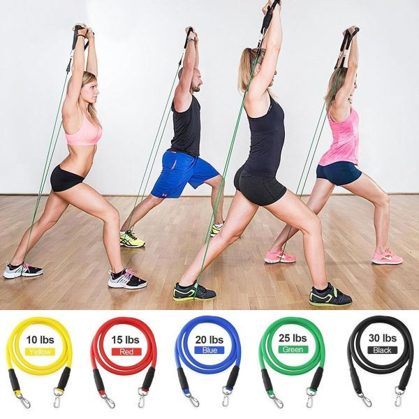 Resistance Bands Set Yoga Pilates Latex Exercise Fitness Tube Workout Band 11PCS 2