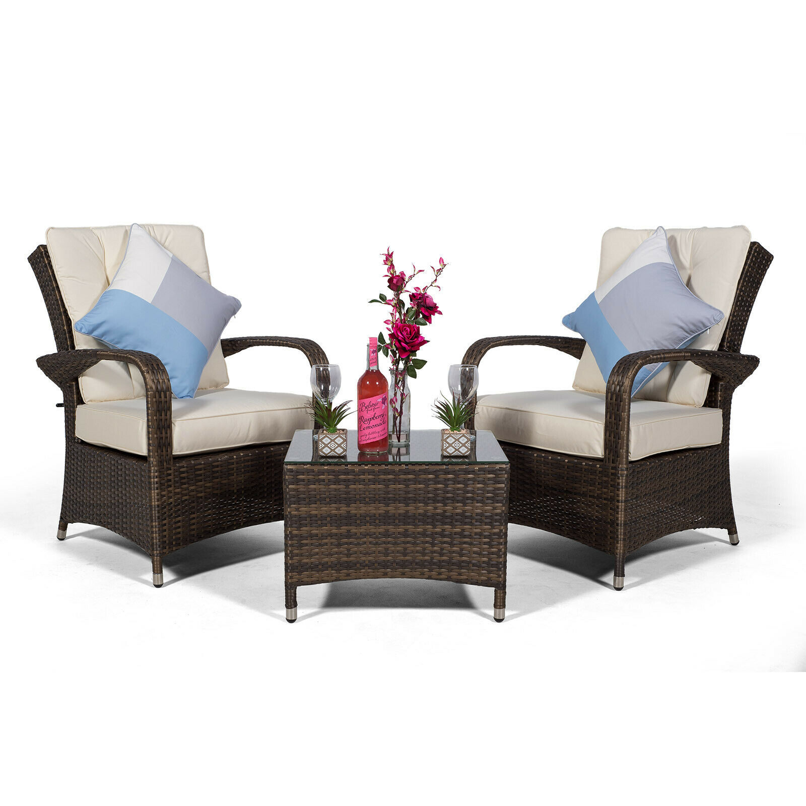 details about arizona 2 seat rattan lounge chair table patio garden furniture set w cover