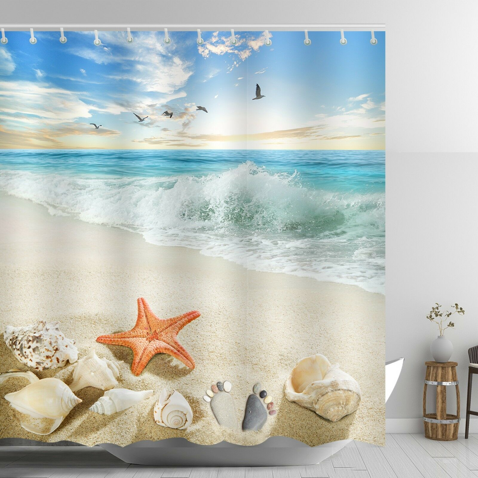 Details About Beach Themed Shower Curtain Red Starfish Ankle Stone Sandy Coastal Scene Decor