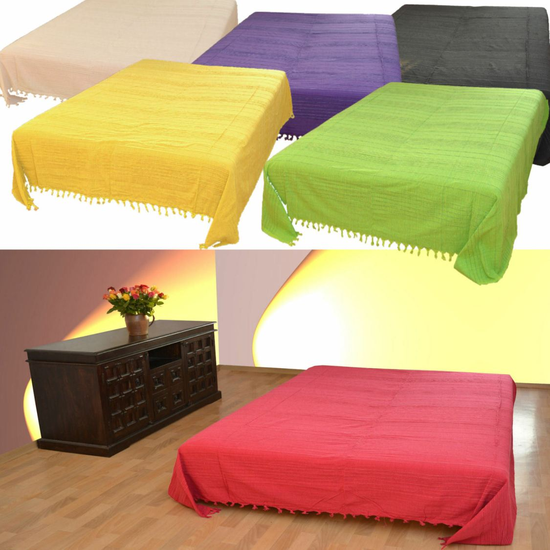 Tagesdecke XXL Sofaüberwurf Bettüberwurf Wohndecke Nepal Plaid Baumwolle Decke *