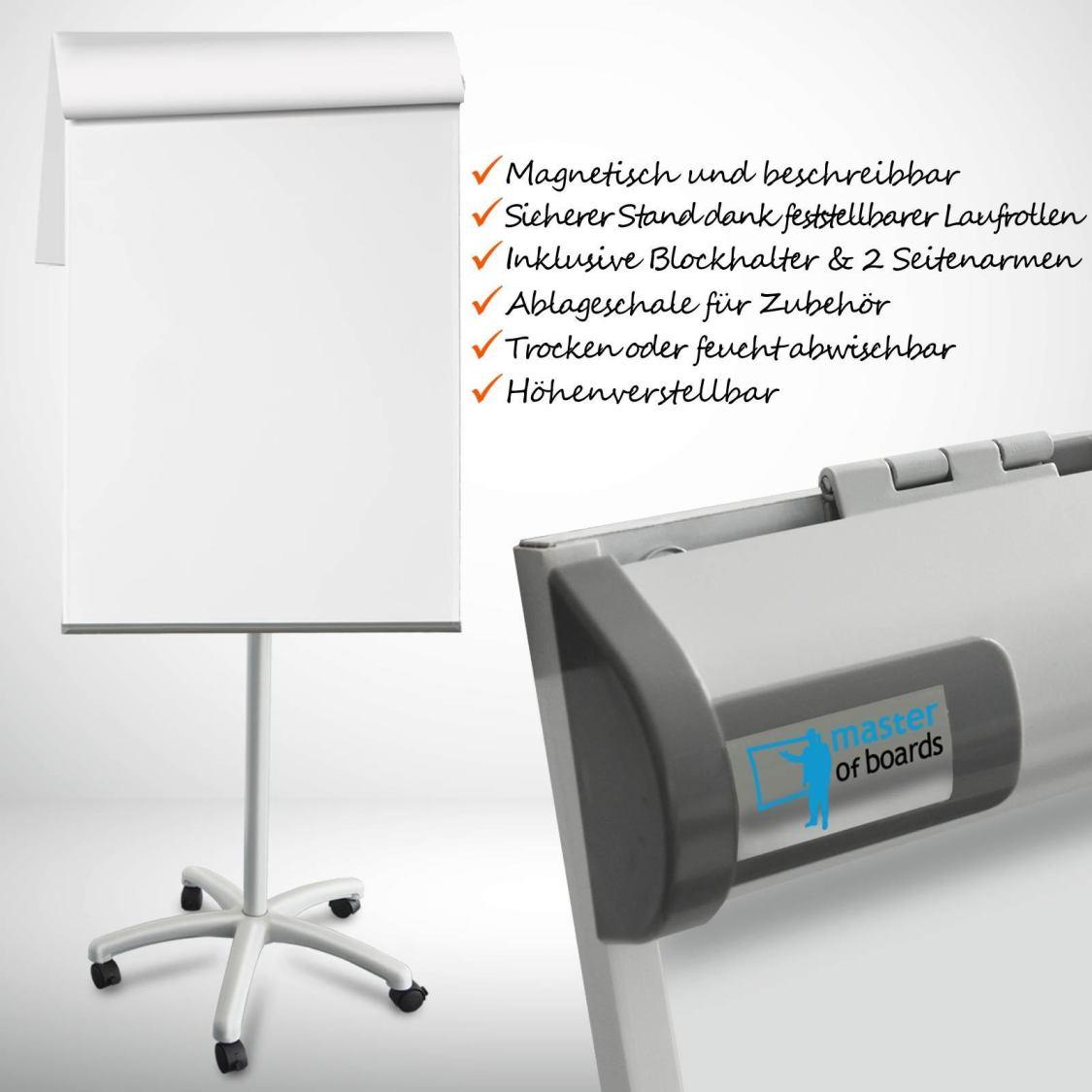 Flipchart Piranha | Rollenfuß Sternfuß Witeboard Weisswandtafel Mobil Flip Chart