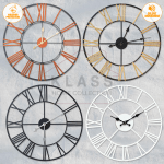 Marble Copper Rose Gold Effect Round Face Wall Clock Kitchen Modern Home For Sale Ebay