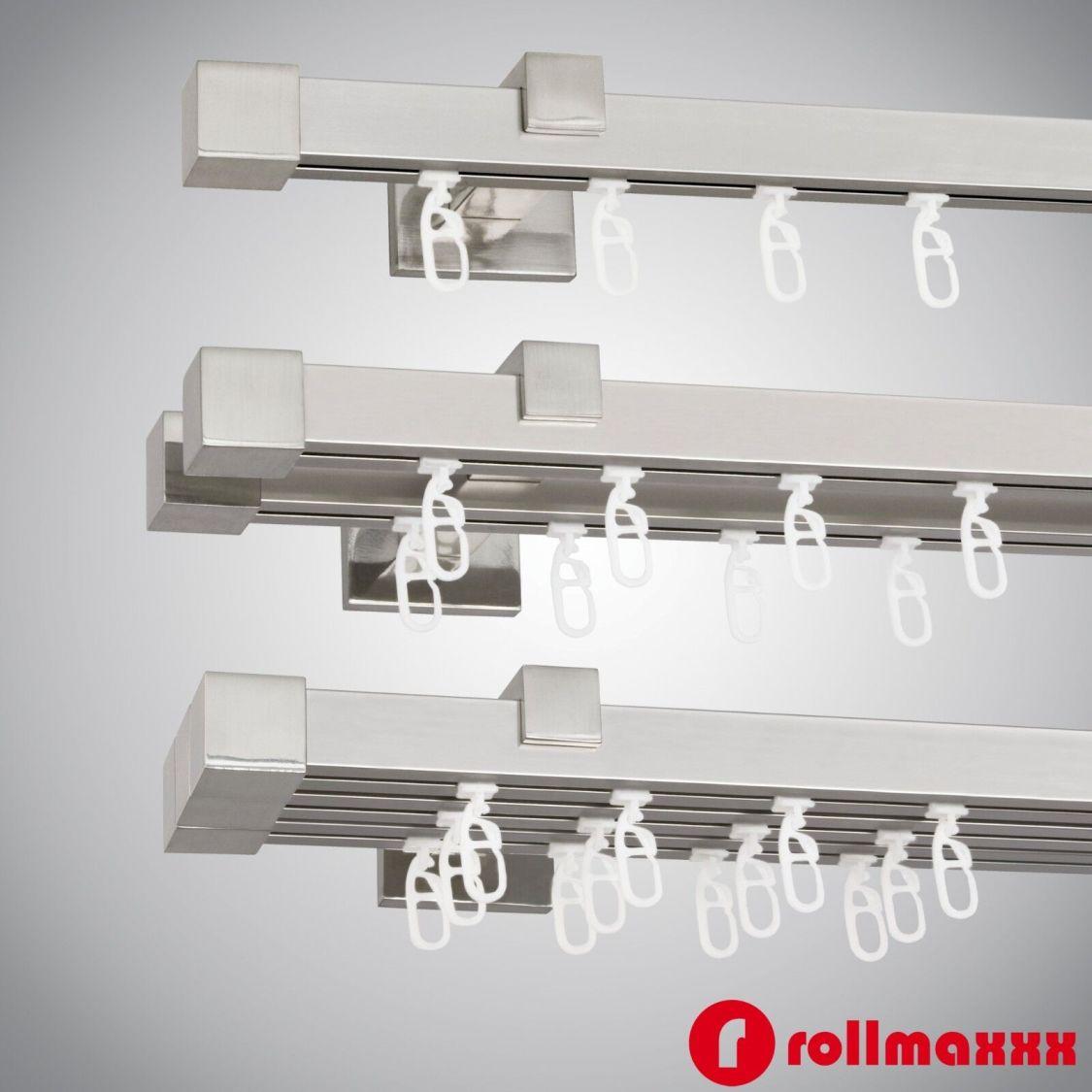 Gardinenstange Vorhangstange 20mm 1-, 2-, 3-läufig Edelstahl Design Metall