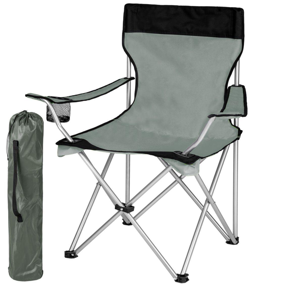Campingstuhl mit hoher Lehne Klappstuhl Regiestuhl Anglerstuhl Gartenstuhl grau