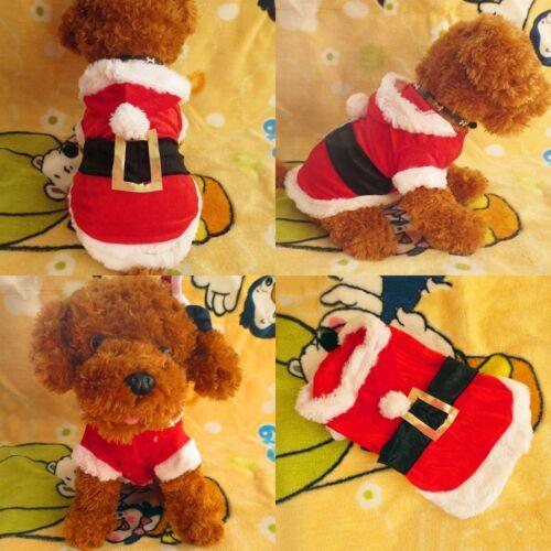 Chrismas Santa Costume Puppy Pet Dog Dress Apparel Hoodie Coat Clothing Outwear 5