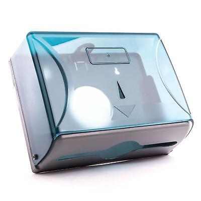 Kunststoff Papierspender blau halbtransparent Papierhandtuch Spender Faltpapier