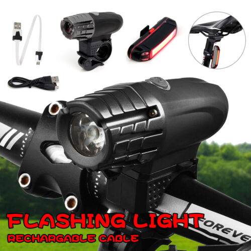 LED Fahrradbeleuchtung Scheinwerfer Rücklicht Fahrradlampe Lampenset Aufladbar