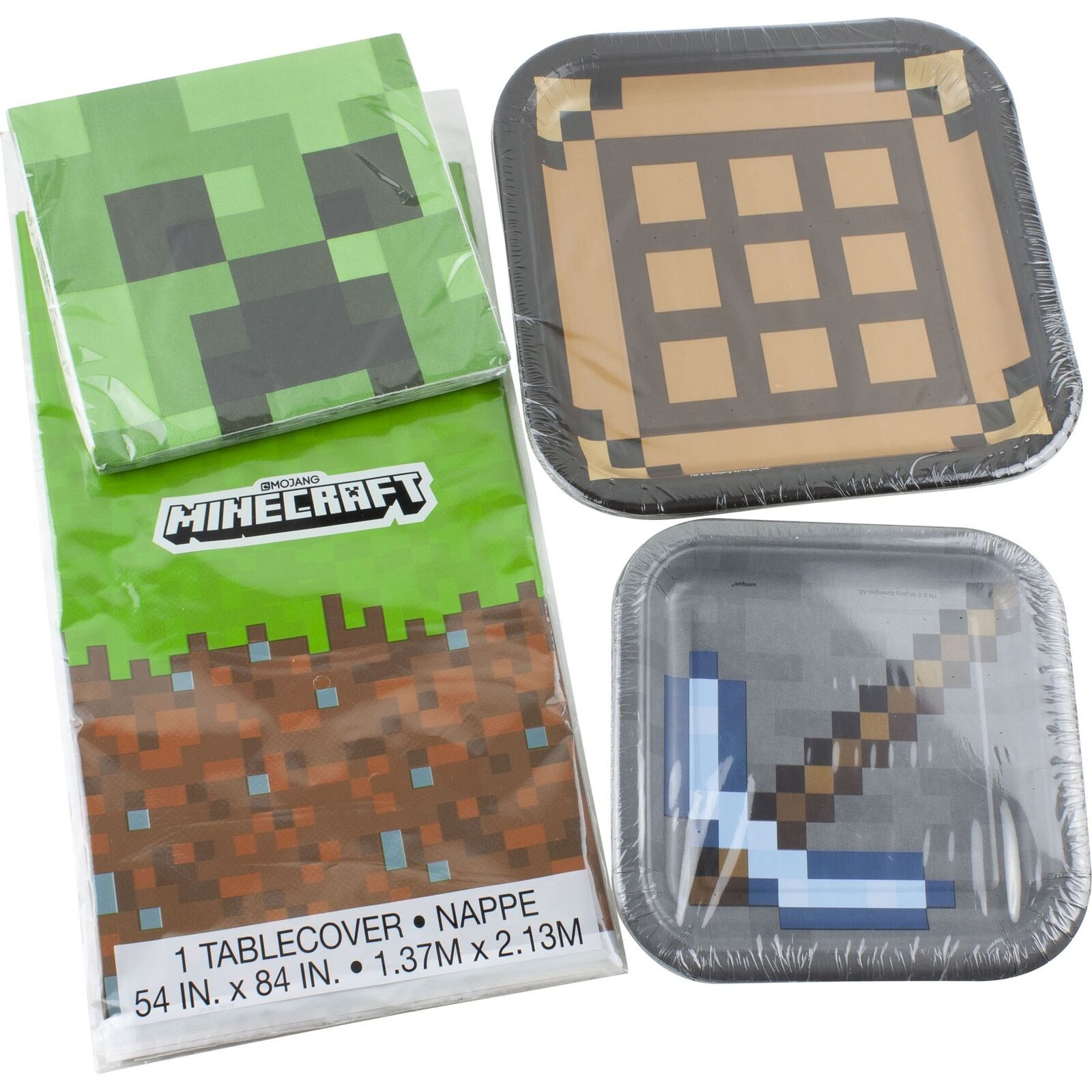 Minecraft Birthday Party Supplies 16 Plates And Napkins 1 Tablecover Axe 11179794058 Ebay
